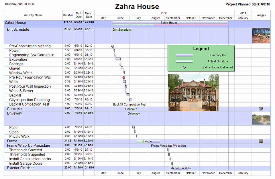 Free project management templates for construction aec for Construction schedule for building a house
